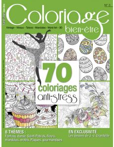 Coloriage bien-être n°3 - 70 coloriages anti-stress - Format voyage
