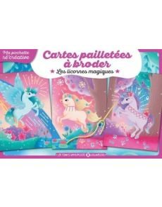 Cartes pailletées à broder - Les licornes magiques - Vayounette