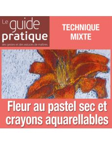 Fleur en vase, pastel sec et crayons aquarellables - Guide Pratique Numérique