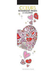 Coeurs - 50 marque-pages à colorier