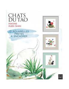 Chats du Tao - 10 aquarelles prêtes à encadrer et 10 marie-louise offertes - Kuen Shan Kwong