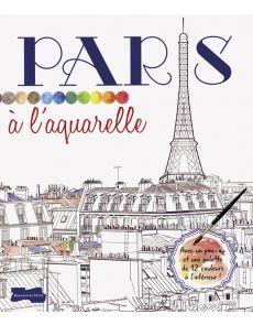 Paris à l'aquarelle - Croquis à peindre, une palette de couleurs et 1 pinceau