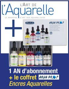 Abonnement à l'Art de l'Aquarelle + le coffret Encres Aquarelle AQUADROP