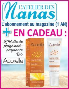 Abonnement 1 AN à L'Atelier des Nanas + l'huile de plage Bio Acorelle