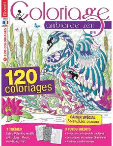 """Coloriage Ambiance Zen 5 - 120 Coloriages et un cahier Spécial """"splendides oiseaux"""""""