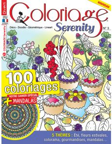 Coloriage Serenity 3 - Thèmes été, fleurs estivales, colorama, gourmandises, mandalas