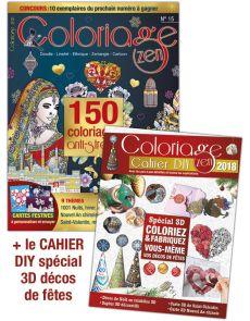 Coloriage Zen 15 - Doodle, LineArt, Ethnique, Zentangle, Cartoon + 32 pages DIY 3D
