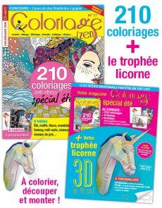 Coloriage Zen 17 + votre trophée licorne 3D de 40 cm !