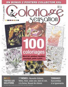 Coloriage Sensation n°1 - 100 coloriages Word Art, peinture mystère, points à relier, mosaïque…