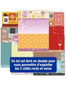 Lot de 16 pages d'étiquettes Papiers Créatifs - Thème Week-end, Casino, rentrée des classes