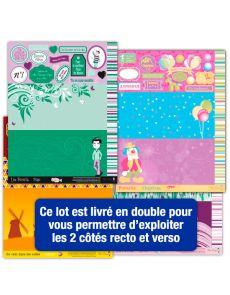Lot de 16 pages d'étiquettes Scrapbooking sur le thème des fêtes, rêveries, détente et Week-end