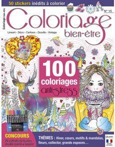 Coloriage bien-être 15 - Thèmes: Hiver, cœurs, motifs et mandalas, fleurs, collector, grands espaces…
