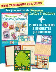 Abonnement 1AN à Passion Cartes Créatives + EN CADEAU 32 planches de papiers créatifs